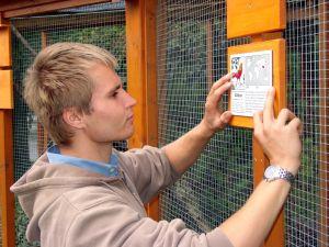 Sebastian Zick, der im Inselzoo ein freiwilliges ökologisches Jahr absolviert, hilft beim Anbringen der neuen Schilder. (Foto: Christian Bettels)