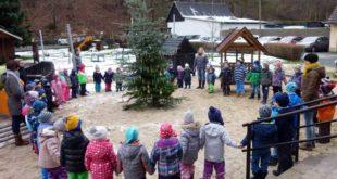 """Mit dem Lied """"Oh Tannenbaum"""" nahmen die Kinder Abschied vom ausgedienten Weihnachtsbaum (Foto: Karolin Vohs)"""