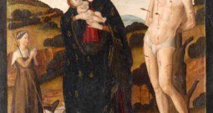 Giovanni Santi, Madonna mit Kind, heiligem Sebastian und einer betenden Hirtin, um 1478, Tempera auf Holz, 74,5 x 61,5 cm (Foto: Lindenau-Museum Altenburg)