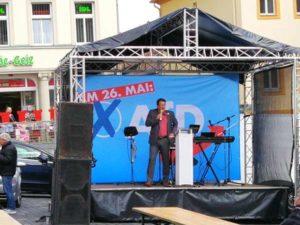 MdB Stefan Brandner bei seiner Ansprache in Altenburg (Foto: ABG-Info)