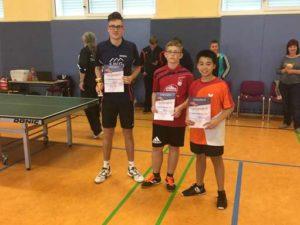 Nachwuchs-Kreisranglisten im Tischtennis - Jungen: v.l.n.r  1. Lukas Schnelle, 3. Clemens Nitzsche, 2. Nam Le Tran Ba (Foto: Verein)