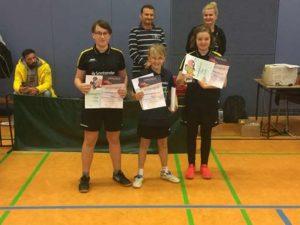 Nachwuchs-Kreisranglisten im Tischtennis - Mädchen: v.l.n.r 3. Mia Röber, 2. Vivien Plötz, 1. Hermine Jähnig  (Foto: Verein)