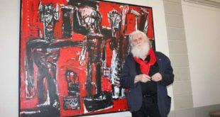 Horst Peter Meyer vor seinem Gemälde im Lindenau-Museum (Foto: Lindenau-Museum)