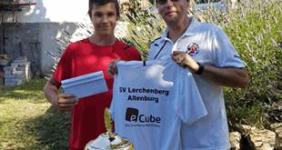 Verabschiedung Lennox Heilmann 2019 –v.l. Lennox Heilmann mit Vereinsvorsitzenden Torsten Rist (Foto: Verein)
