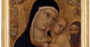 Sano di Pietro, Madonna mit Kind, verehrt von Engeln und Heiligen, um 1450–55, (Foto: Bernd Sinterhauf)